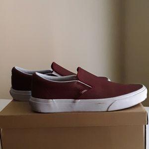 Leather Vans, Maroon Color